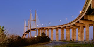 Sidney Lanier Bridge in Brunswick, Georgia stock image