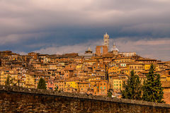 View of Siena Italy. Faraway view of houses on a hill in Siena Italy Stock Image
