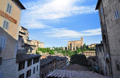 View of Siena from the rooftops. With the Basilica of San Domenico in the background royalty free stock photo
