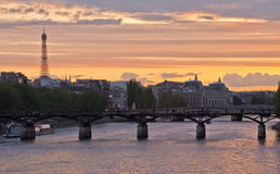View on Siene river and Eifell town, Paris Royalty Free Stock Photography