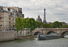 View on Siene river and Eifell town, Paris Stock Image