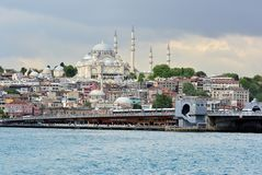 View and sight of Bosphorus, Istanbul, Turkey. Blue  Mosque. royalty free stock photo