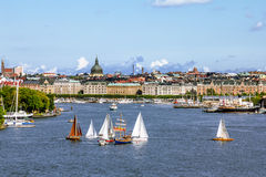 View the sights and the harbour in the old town of Stockholm. Sw Royalty Free Stock Image
