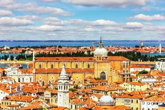 View on the sights of Venice from San Marco Campanile royalty free stock image