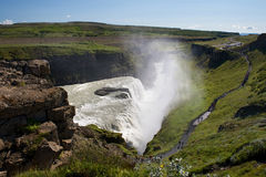 View of the sightseeing spot near Gullfoss (Golden falls) waterfall, Iceland. View of the sightseeing spot near Gullfoss (Golden falls) waterfall on a sunny stock images