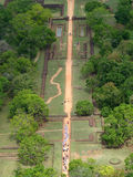 View from Sigiriya Rock Fort. Looking down from the top of the Sigiriya rock fort on to the pathway that leads to it royalty free stock photos