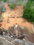 View from Sigiriya Rock Fort. Looking down from the top of the Sigiriya rock fort royalty free stock photography