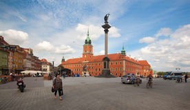 View of Sigmund's Column and Royal Castle on August 13, 2013 in Warsaw, Poland. Royalty Free Stock Image