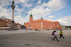 View of Sigmund's Column and Royal Castle on August 13, 2013 in Warsaw, Poland. Royalty Free Stock Photos