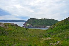 View from Signal Hill towards the Fort Amherst lighthouse. On the entrance of the St John`s harbour, Newfoundland Canada stock photography