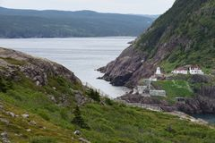View from Signal Hill towards the Fort Amherst lighthouse. On the entrance of the St John`s harbour, Newfoundland Canada stock photos