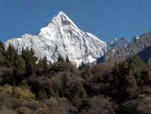View of Siguniang Mountain from inside Changping Valley, Siguniangshan park, Sichuan Province, China stock images