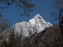 View of Siguniang Mountain from inside Changping Valley, Siguniangshan park, Sichuan Province, China stock photos