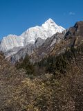 View of Siguniang Mountain from inside Changping Valley, Siguniangshan park, Sichuan Province, China royalty free stock photo