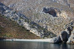 View of Sikati cave, Kalymnos, Greece Stock Photography