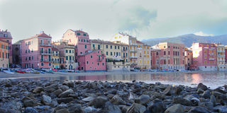 View of Silence Bay. In Sestri Levante.This town is callen two seas city for its shape, in fact a little isthmus divides the Silence Bay from The Fables Bay royalty free stock photos