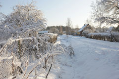 View of silent village in snow Stock Photography