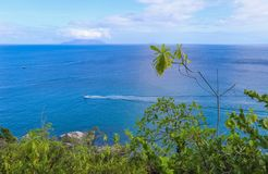 View of Silhouette Island and Indian ocean. Seychelles Stock Photo