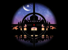 View of the silhouette of a mosque gunpoint Royalty Free Stock Images