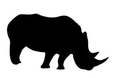 View on the silhouettes of a rhinoceros. Digitally hand drawn vector illustraion Stock Image
