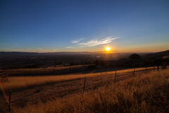 View of the Silicon Valley from Mount Hamilton at sunset. Royalty Free Stock Image