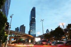 View Silom road in twilight of Mahanakhon building. Royalty Free Stock Photo