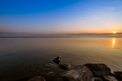 View of Simcoe lake during sunrise. From Sibbald Point Provincial Park, Ontario, Canada stock image