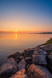 View of Simcoe lake during sunrise. From Sibbald Point Provincial Park, Ontario, Canada stock photography