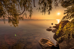 View of Simcoe lake during sunrise Stock Images