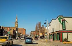 View Of Simcoe Street In Downtown Oshawa, Ontario, Canada. Driving north on Simcoe Street toward downtown Oshawa, Ontario, Canada. Located just east of Toronto stock photos