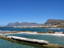 A view of Simonstown, South Africa. A view of Simonstown, at the southern tip of South Africa, featuring the ocean and mountainous backdrop Royalty Free Stock Images