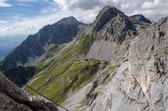View from Sinabel ferrata above Guttenberghaus chalet Stock Image