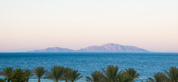 View from the Sinai Peninsula to the sea and Tiran Island.  Stock Images