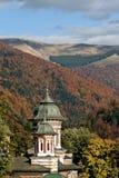 View of Sinaia Monastery, Romania. View of the church bell tower, Sinaia Monastery, Romania royalty free stock image