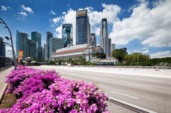 Scenic view of business district, Singapore city Royalty Free Stock Images