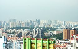 View of the Singapore city from the Skybridge. On the 50th storey of the skyscraper Pinnacle@Duxton – first 50-storey public housing project in Singapore Stock Images