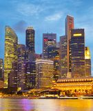 Financial Downtown Singapore at twilight. View of  Singapore Downtown Core at twilight Stock Images