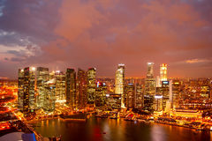 Singapore at dusk Stock Photography