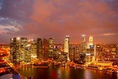 Singapore at dusk Stock Photography