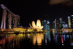 Singapore Marina Bay at night time. View of Singapore Marina Bay at night time, Singapore city view. Singapore Royalty Free Stock Photos
