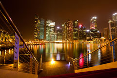 A view of Singapore in the night Stock Photos