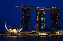 View of Singapore at night marina bay stock photos