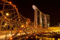 A view of Singapore in the night time Stock Images