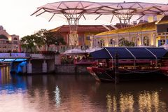 Singapore river, boat and Clarke Quay area stock photos