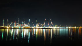 View on Singapore's busy port Royalty Free Stock Image