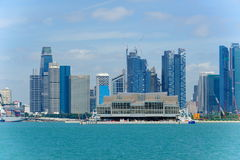 View of Singapore's financial district and Marina Bay Cruise Centre Stock Photography