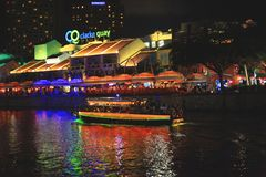 View of Singapore`s water transport at night royalty free stock photo