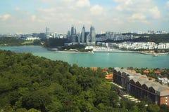 View of Singapore with Sentosa island. Stock Photos