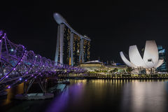 View of Singapore skyline at night. With Helix bridge, Marina sands hotel and art science museum Royalty Free Stock Images