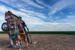 Cadillac Ranch near Amarillo in Texas. View of single Cadillac at Cadillac Ranch near Amarillo in Texas Royalty Free Stock Photography